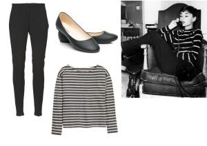 Černé kalhoty a balerínky lze zakoupit v internetovém obchodě Spartoo.cz za 3471,- a 299,- a pruhované triko lze zakoupit v prodejnách H&M za 229,-. Zdroj obrázku Pinterest