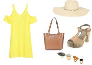 Žluté šaty lze zakoupit v prodejnách H&M za 599,-, slaměný klobouk lze zakoupit v internetovém obchodě Answear za 329,-, kabelku lze zakoupit v prodejnách Demix za 2190,-, sandálky lze zakoupit v internetovém obchodě Botyk.cz za 1070,- a sadu prstenů lze zakoupit v prodejnách H&M za 349,-