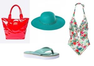 Tašku lze zakoupit v internetovém obchodě Answear za 1099,-, klobouk v internetovém obchodě Sasoo za 239,-, boty v prodejnách Baťa za 599,- a plavky v internetovém obchodě Spartoo za 2459,-