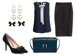 Náušnice: H&M,  halenka: Lindex, sukně: H&M, boty:  Spartoo.cz a kabelka: Lindex