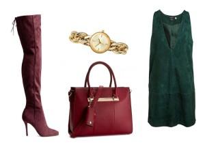 Boty a hodinky lze zakoupit v H&M, kabelku v Eobuv.cz  a šaty v Lindex