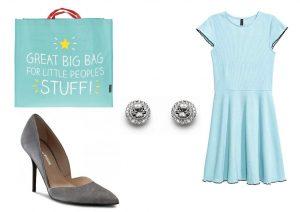 Tašku lze zakoupit v internetovém obchodě ZOOT, náušnice lze zakoupit v internetovém obchodě Vivantis, šaty lze zakoupit v prodejnách H&M a boty lze zakoupit v internetovém obchodě Eobuv
