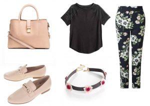 Zaujal vás tento outfit? Kabelku, tričko a náhrdelník lze zakoupit v prodejnách H&M, kalhoty lze zakoupit v prodejnách Lindex a boty lze zakoupit v internetovém obchodě ZOOT