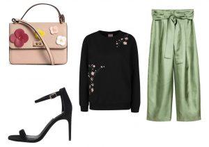 Kabelku a kalhoty lze zakoupit v prodejnách H&M, mikinu a boty lze zakoupit v internetovém obchodě ZOOT
