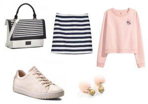 Kabelku a boty lze zakoupit v internetovém obchodě Eobuv.cz, sukni lze zakoupit v prodejnách Lindex, svetřík lze zakoupit v prodejnách H&M a náušnice lze zakoupit v internetovém obchodě BeYou.cz