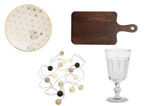 Talíře a prkénko můžete zakoupit v prodejnách H&M Home, světelný řetěz můžete zakoupit v prodejnách Jysk, sklenice můžete zakoupit v OD IKEA.